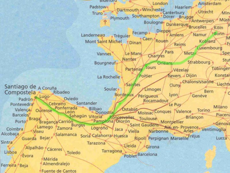 Jakobsweg Karte Frankreich.Peter Thomas Camino Siegburg Santiago Fahrrad